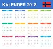 Noorse Kalender voor 2018 Planner, agenda of agendamalplaatje Het begin van de week op Maandag Royalty-vrije Stock Foto's
