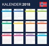 Noorse Kalender voor 2018 Planner, agenda of agendamalplaatje Het begin van de week op Maandag Royalty-vrije Stock Afbeelding