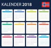 Noorse Kalender voor 2018 Planner, agenda of agendamalplaatje Het begin van de week op Maandag Royalty-vrije Stock Foto