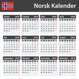 Noorse Kalender voor 2018 Planner, agenda of agendamalplaatje Het begin van de week op Maandag Royalty-vrije Stock Fotografie