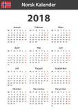 Noorse Kalender voor 2018 Planner, agenda of agendamalplaatje Het begin van de week op Maandag Stock Afbeelding