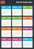 Noorse Kalender voor 2018 Planner, agenda of agendamalplaatje Het begin van de week op Maandag Royalty-vrije Stock Afbeeldingen