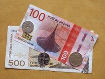 Noorse Kroonnota's en muntstukken, Noorwegen Royalty-vrije Stock Foto's