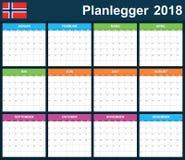 Noorse Ontwerpersspatie voor 2018 Planner, agenda of agendamalplaatje Het begin van de week op Maandag Royalty-vrije Stock Fotografie