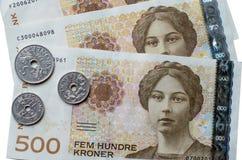 Noorse 500 oude wijvenbankbiljetten Stock Afbeeldingen