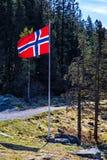 Noorse vlag op vlaggemast bij weg in bos Royalty-vrije Stock Afbeeldingen