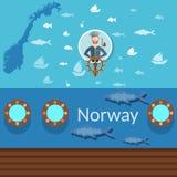Noorse zeeman, kaarten van Noorwegen, industriële visserij, het reizen Royalty-vrije Stock Afbeeldingen