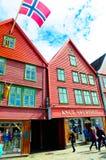 Noorwegen Bergen, de Historische Gebouwen van Bryggen, Reis Noord-Europa Stock Foto's