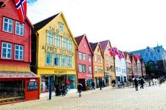 Noorwegen Bergen, de Historische Gebouwen van Bryggen, Reisbestemmingen Scenics, Noord-Europa Stock Afbeelding