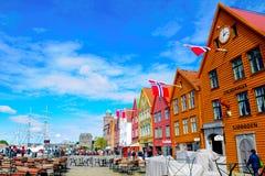 Noorwegen Bergen, de Middeleeuwse Gebouwen van Bryggen, Reis Noord-Europa Royalty-vrije Stock Fotografie