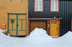 noorwegen De stad van Röros in de winter stock foto's