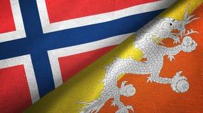 Noorwegen en Bhutan twee vlaggen textieldoek, stoffentextuur royalty-vrije illustratie