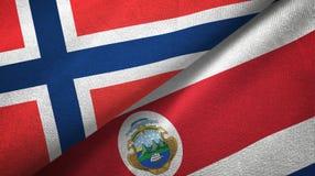Noorwegen en Costa Rica twee vlaggen textieldoek, stoffentextuur vector illustratie