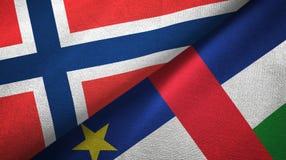 Noorwegen en de Centraalafrikaanse Republiek twee textuur van de vlaggen de textielstof vector illustratie