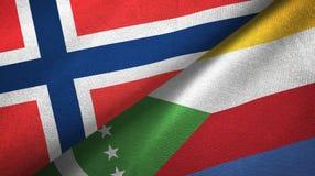 Noorwegen en de Comoren twee vlaggen textieldoek, stoffentextuur stock illustratie