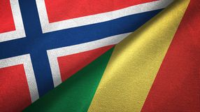 Noorwegen en de Kongo twee vlaggen textieldoek, stoffentextuur vector illustratie