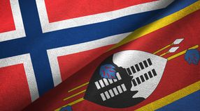 Noorwegen en Eswatini Swasiland twee vlaggen textieldoek stock illustratie