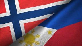 Noorwegen en Filippijnen twee vlaggen textieldoek, stoffentextuur vector illustratie