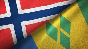 Noorwegen en Heilige Vincent en Grenadines twee vlaggen textieldoek royalty-vrije illustratie