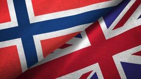 Noorwegen en het Verenigd Koninkrijk twee vlaggen textieldoek, stoffentextuur stock illustratie