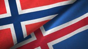 Noorwegen en IJsland twee vlaggen textieldoek, stoffentextuur stock illustratie