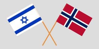 Noorwegen en Israël De Noorse en Israëlische vlaggen Officieel aandeel Correcte kleuren Vector royalty-vrije illustratie