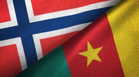Noorwegen en Kameroen twee vlaggen textieldoek, stoffentextuur vector illustratie