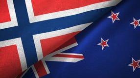 Noorwegen en Nieuw Zeeland twee vlaggen textieldoek, stoffentextuur royalty-vrije illustratie