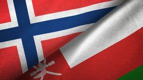 Noorwegen en Oman twee vlaggen textieldoek, stoffentextuur royalty-vrije illustratie