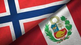 Noorwegen en Peru twee vlaggen textieldoek, stoffentextuur royalty-vrije illustratie