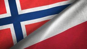 Noorwegen en Polen twee vlaggen textieldoek, stoffentextuur royalty-vrije illustratie