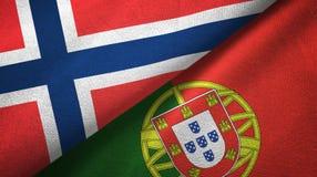 Noorwegen en Portugal twee vlaggen textieldoek, stoffentextuur vector illustratie