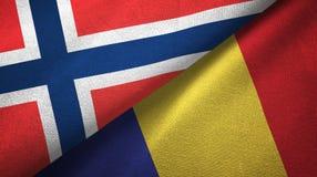 Noorwegen en Roemenië twee vlaggen textieldoek, stoffentextuur vector illustratie