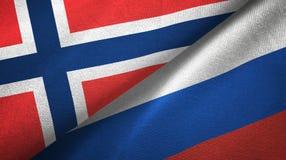 Noorwegen en Rusland twee vlaggen textieldoek, stoffentextuur stock illustratie