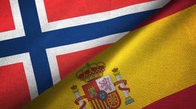 Noorwegen en Spanje twee vlaggen textieldoek, stoffentextuur stock illustratie