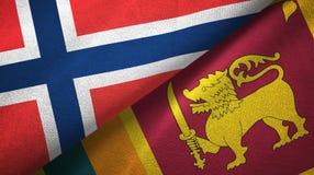 Noorwegen en Sri Lanka twee vlaggen textieldoek, stoffentextuur royalty-vrije illustratie