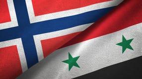 Noorwegen en Syrië twee vlaggen textieldoek, stoffentextuur royalty-vrije illustratie