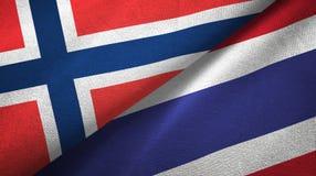 Noorwegen en Thailand twee vlaggen textieldoek, stoffentextuur vector illustratie