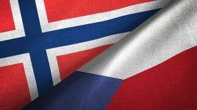 Noorwegen en Tsjechische Republiek twee vlaggen textieldoek, stoffentextuur stock illustratie