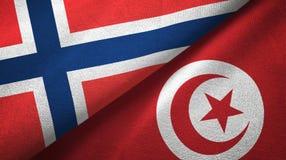 Noorwegen en Tunesië twee vlaggen textieldoek, stoffentextuur vector illustratie