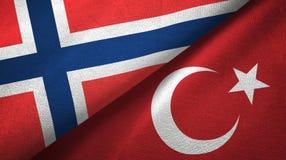 Noorwegen en Turkije twee vlaggen textieldoek, stoffentextuur royalty-vrije illustratie