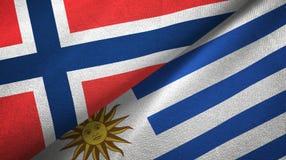 Noorwegen en Uruguay twee vlaggen textieldoek, stoffentextuur royalty-vrije illustratie