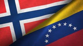 Noorwegen en Venezuela twee vlaggen textieldoek, stoffentextuur vector illustratie