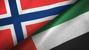 Noorwegen en Verenigde Arabische Emiraten twee vlaggen textieldoek, stoffentextuur stock illustratie