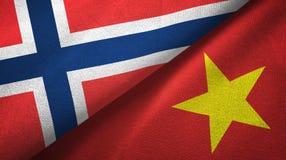 Noorwegen en Vietnam twee vlaggen textieldoek, stoffentextuur vector illustratie