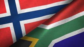 Noorwegen en Zuid-Afrika twee vlaggen textieldoek, stoffentextuur vector illustratie