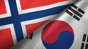 Noorwegen en Zuid-Korea twee vlaggen textieldoek, stoffentextuur royalty-vrije illustratie
