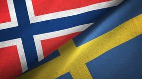 Noorwegen en Zweden twee vlaggen textieldoek, stoffentextuur stock illustratie