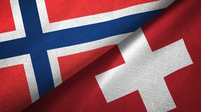 Noorwegen en Zwitserland twee vlaggen textieldoek, stoffentextuur stock illustratie