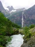 Noorwegen. Gletsjer Briksdale Stock Afbeelding